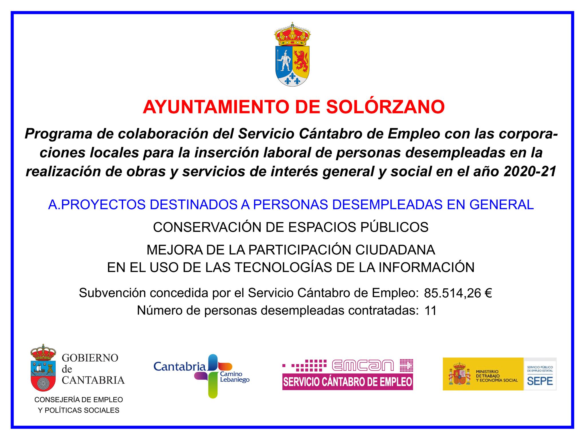 Cartel del Programa de Colaboración del Servicio Cántabro de Empleo con el Ayuntamiento de Solórzano para la contratación de personas desempleadas en 2020-21.