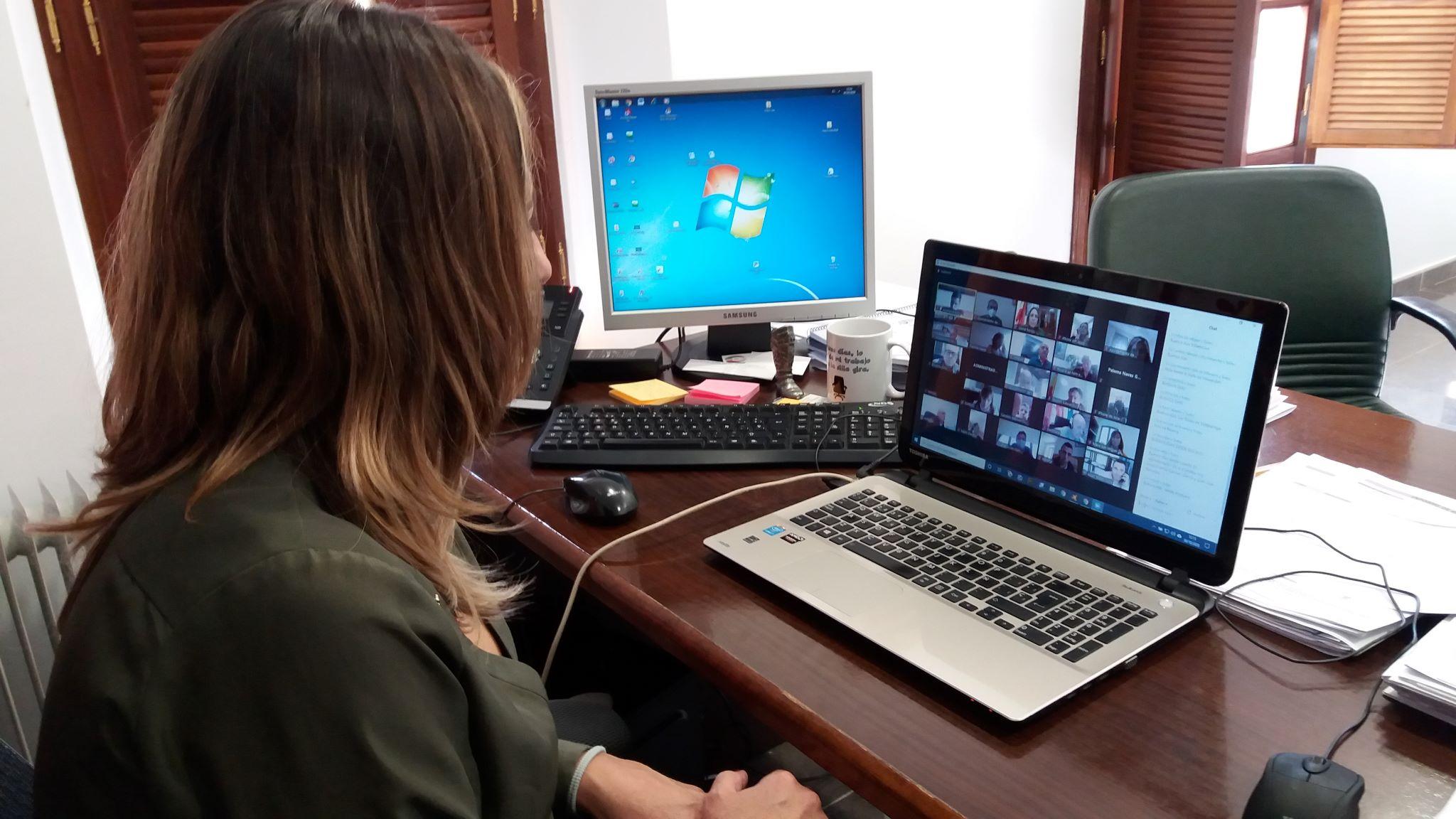 La alcaldesa de Solórzano, Gema Perojo, en la reunión virtual entre los municipios de Cantabria y la Directora General de Salud Pública, Paloma Navas.