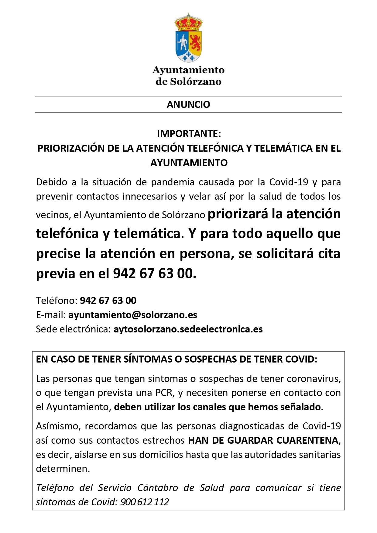 El Ayuntamiento de Solórzano priorizará la atención telefónica y telemática.