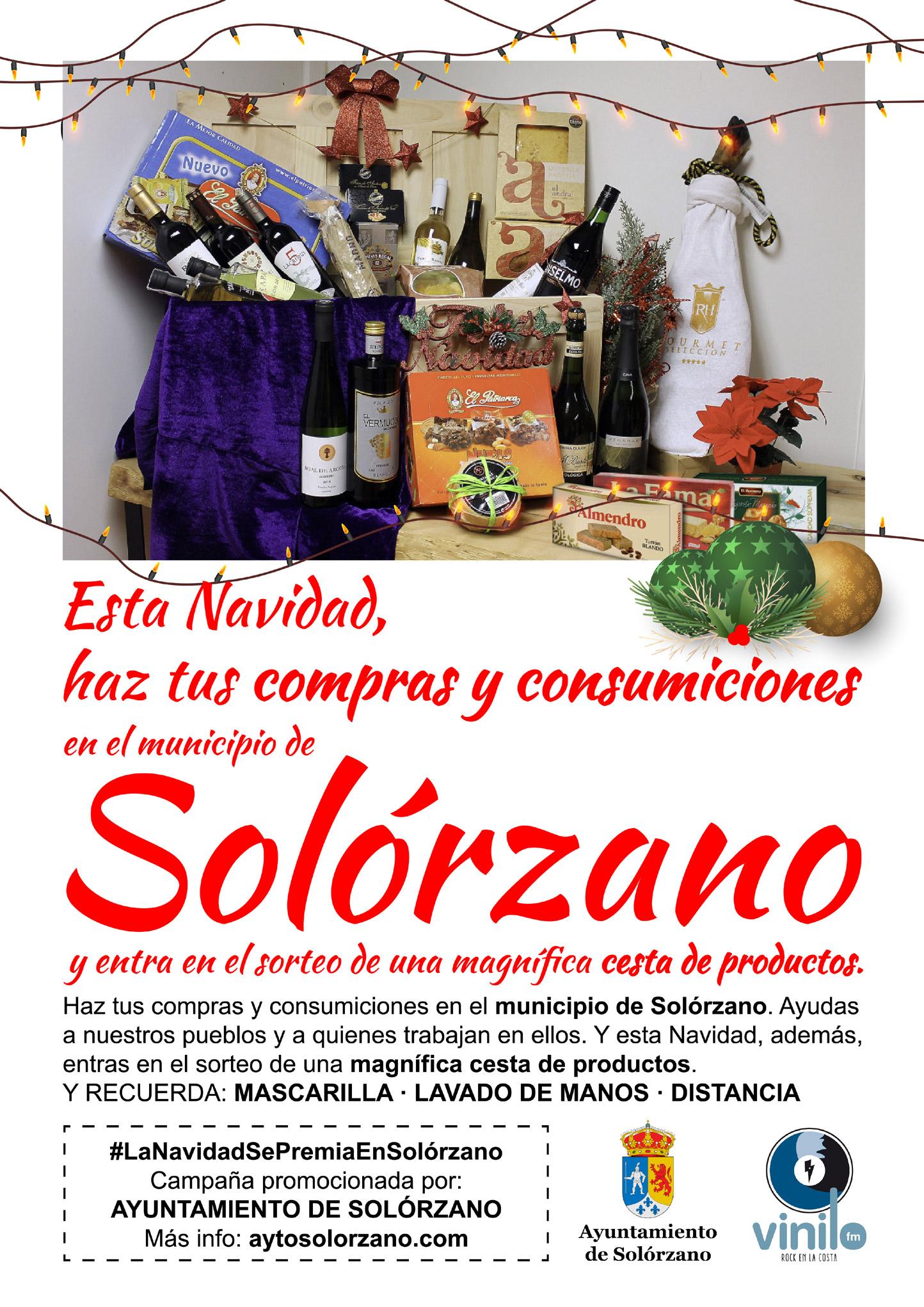 Cartel para el sorteo de una Cesta de Navidad entre los consumidores de los establecimientos de Solórzano.